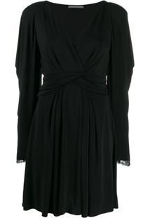 Alberta Ferretti Lace Sleeve Dress - Preto