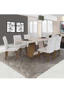 Conjunto De Mesa De Jantar Com 6 Cadeiras Gênova Veludo Ipê E Off White