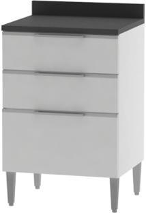 Balcão 600 3 Gavetas Essence Branco Com Preto - Aroma Cozinhas