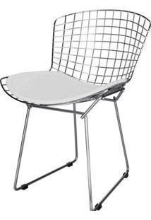 Cadeira Bertoia Assento Courrissimo Branco Inox 24150 - Sun House