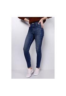 Calça Skinny Cintura Alta Blue Escuro Pinados Gang Feminina