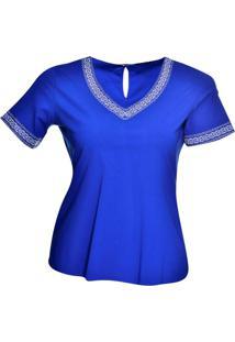 Blusa Loony Special Bordado Étnico Azul