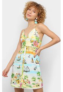 Vestido Curto Farm Cidade Alta - Feminino-Estampado