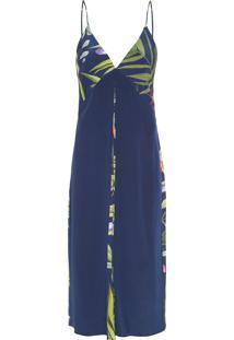 Vestido Longo Detalhe Liso - Azul