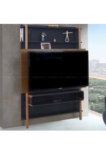 Estante Home Theater Para Tv Até 60 Polegadas Karl 180 X 134,8 X 25,5 Preto/Freijó - Urbe Móveis