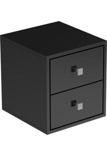 Cubo | Nicho Decorativo Para Parede Com 2 Gavetas Com Puxadores Em Pvc (36X33X35 Cm) - Preto - Brv Móveis