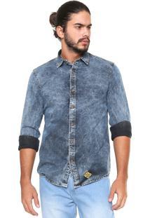 Camisa Jeans Von Dutch Reta Acid Azul