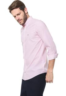 Camisa Tommy Hilfiger Slim Geométrica Rosa