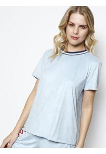 "Camiseta Em Suede ""Since 88""- Azul & Azul Escurocharry"