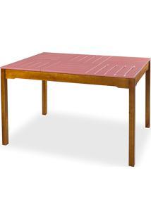 Mesa Para Sala De Jantar Madeira Maciça Taeda Com Tampo Colorido Olga Verniz Nózes E Rosa Coral 120X80X75Cm