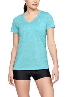 Camiseta Under Armour Camiseta Under Armour Tech Twist V-Neck Feminina Azul - Kanui