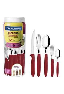 Faqueiro 30 Peças Tramontina 23398788 Ipanema Aço Inox Vermelho