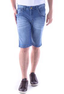 Bermuda 654 Jeans Traymon Modelagem Slim 5 Bolsos Azul Indigo