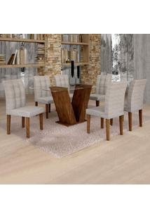 Conjunto De Mesa De Jantar Classic Com 6 Cadeiras Vitória Suede Chocolate E Cinza