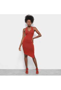 Vestido Assimétrico Triton Canelado - Feminino-Coral