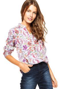 Camisa Fiveblu Floral Off-White