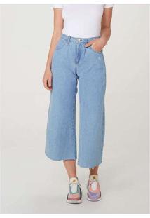 Calça Jeans Feminina Wide Leg Cropped Azul