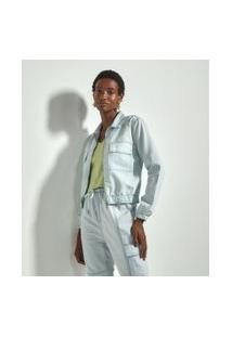 Jaqueta Jeans Lisa Com Elástico E Bolsos Frontais Comfy | Marfinno | Azul | Pp