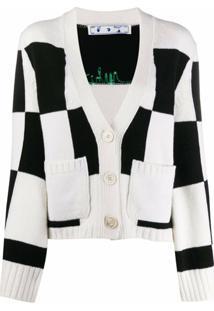 Off-White Cardigan Xadrez Com Logo Bordado - Preto