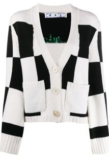 Off-White Cardigan Xadrez Com Logo Bordado - Preto