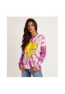 Blusa Feminina De Moletom Lisa Simpsons Estampada Tie Dye Manga Longa Rosa