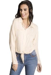Camisa Básica Viscose Handbook - Feminino-Bege
