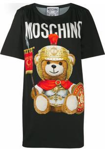 Moschino Vestido Roman Teddy Bear - Preto