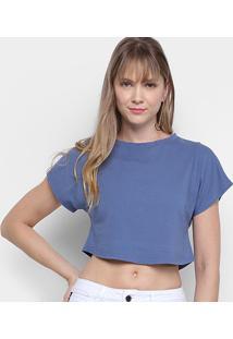 Camiseta Morena Rosa Cropped Básica Lisa Feminina - Feminino-Azul