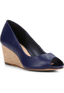 Peep Toe Couro Shoestock Anabela Ráfia - Feminino-Azul