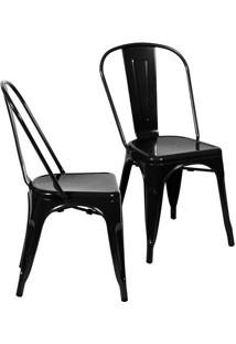 Jogo De Cadeiras De Jantar Retrã´- Preto- 2Pã§S- Oor Design