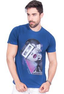 Camiseta Rota Do Mar Rosto Vinílico Azul