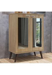Sapateira 2 Portas Com Espelho 3 Prateleiras Sp070 Oak - Completa Móveis