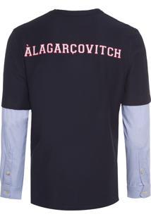 Camiseta Masculina Manga Camisa - Azul