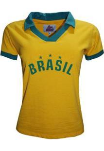 Camisa Liga Retrô Brasil Polo Estrelas Feminino - Feminino