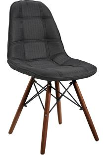 Cadeira Linho Com Base Em Madeira 1114-Or Design - Preto