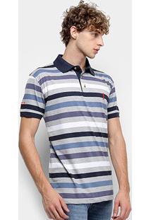 Camisa Polo Aleatory Listrada Masculina - Masculino-Cinza+Azul