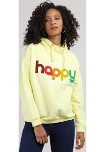 """Blusão De Moletom Feminino """"Happy"""" Com Capuz Amarelo Claro"""