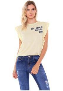 Camiseta Studio 21 Fashion Basic Babados Feminina - Feminino-Amarelo