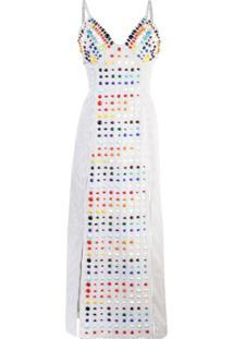 Rosie Assoulin Vestido Midi Com Aplicação - Branco