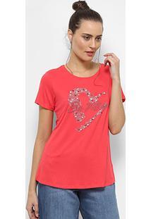 Camiseta Facinelli Be Mine Apliques Feminina - Feminino-Pink