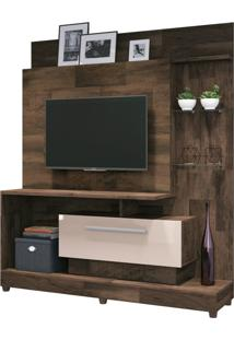 Painel Home Theater 1.6 Para Tv Até 42 Sala De Estar Apolo Texture Deck/Off White - Gran Belo
