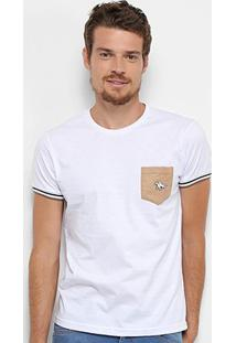 Camiseta Rg 518 Camurça Detalhe Bordado Masculina - Masculino-Branco