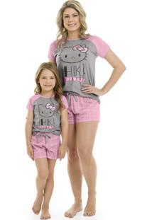 Pijama Blusa E Shorts Mãe E Filha Hello Kitty Rosa/Mescla
