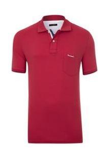 Camisa Polo Pierre Cardin Flat Masculina - Masculino-Vermelho