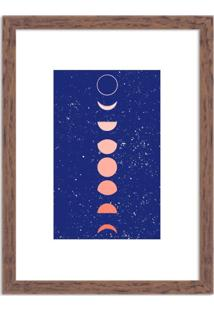 Quadro Decorativo Fases Da Lua Azul Madeira - Grande