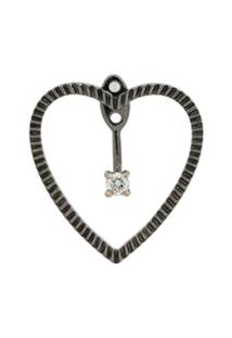 Yvonne Léon Brinco Único 'Heart' De Ouro Negro 18Kt Com Diamante - Prateado