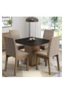 Conjunto Sala De Jantar Madesa Cris Mesa Tampo De Madeira Com 4 Cadeiras