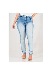 Calça Jeans Feminina Skinny Cós Alto Manchada Azul Claro