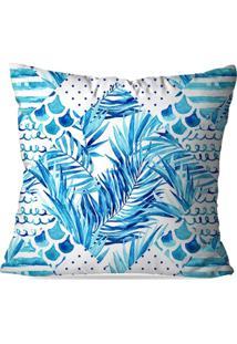 Capa De Almofada Avulsa Decorativa Feuilles Bleues 35X35