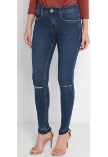 Jeans Nix Skinny Medium High - Azul Escuro- Lança Pelança Perfume